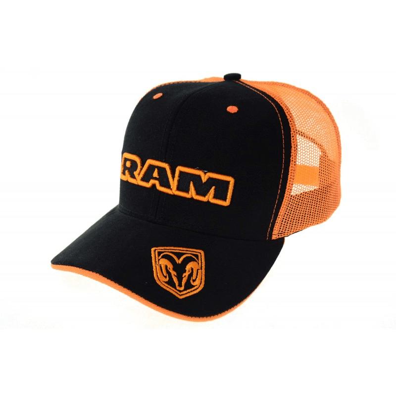 Boné Ram preto com tela laranja